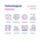 Industria automatizada, producción tecnológica, trabajador manual en la planta de fabricación, control de calidad, laboratorio de libre illustration