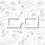 Industria cinematografica bianca del fondo degli occhiali da sole Illustrazione Vettoriale