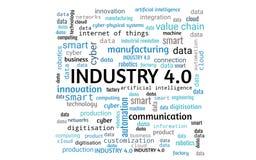 industria 4 0 concetti come il collage di parola o nuvola di parola, rettangolo, parole in blu, grigio, il nero illustrazione vettoriale