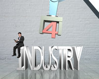 industria 4 0 concetti, uomo che per mezzo del braccio di controllo del robot della compressa Fotografia Stock