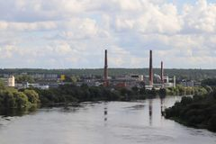 Industria dal fiume Fotografie Stock Libere da Diritti