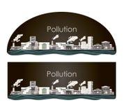 Industria de la contaminación - niebla con humo pesada Ejemplo del vector - central térmica, fábrica industrial, fabricando ilustración del vector