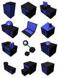 Industria de la logística de la cadena de suministro fijada en azul negro Imagenes de archivo