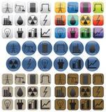 Industria del aceite, del gas y de la energía eléctrica Iconos Fotografía de archivo libre de regalías