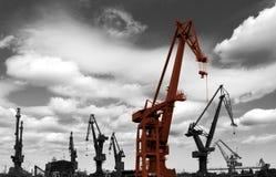 Industria del astillero en Gdansk Imágenes de archivo libres de regalías
