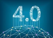 industria 4 0 e Internet industriale del concetto di cose con l'illustrazione di un mondo digitale collegato illustrazione di stock