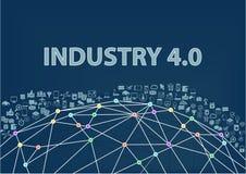 industria 4 0 fondi dell'illustrazione Internet del concetto di cose visualizzato dal wireframe del globo Fotografia Stock Libera da Diritti
