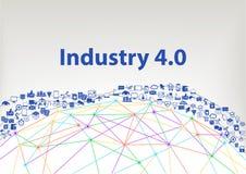 industria 4 0 fondi dell'illustrazione Internet del concetto di cose visualizzato tramite il wireframe ed i collegamenti del glob illustrazione di stock