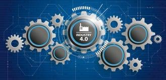 industria 4 0 insegne futuristiche del circuito delle ruote di ingranaggio Immagini Stock