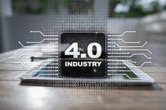 industria 4 IOT Internet delle cose Concetto astuto di fabbricazione 4 industriali 0 infrastrutture trattate Fondo immagine stock