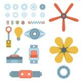 Industria mecánica del equipo del engranaje del diseño de detalle del trabajo de la fabricación de diverso vector del mecanismo d libre illustration