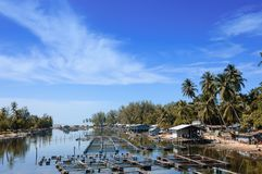 Industria pesquera local de la orilla en el canal Fotos de archivo libres de regalías