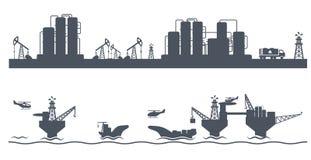 Industria petrolera inconsútil horizontal del fondo Fotografía de archivo libre de regalías