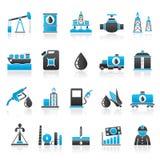 Industria petrolifera, icone di produzione del gas, del trasporto e di stoccaggio Fotografie Stock Libere da Diritti