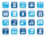 Industria petrolifera, icone di produzione del gas, del trasporto e di stoccaggio Fotografia Stock Libera da Diritti
