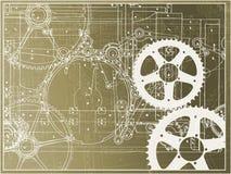 Industria tecnica della macchina dell'ingranaggio dell'illustrazione di piano su una pendenza royalty illustrazione gratis