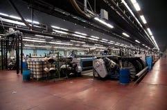 Industria textil (dril de algodón) - tejiendo Imagen de archivo libre de regalías