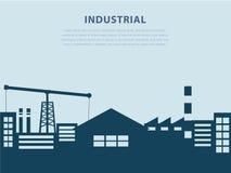 Industria y fábrica en plantilla del scape de la ciudad Foto de archivo