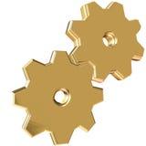 Industrial. 3D illustartion of golden gear stock illustration