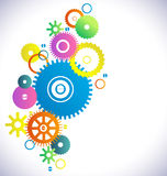 Industrial abstract colorful background with different gear Stock Photography
