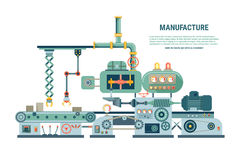 Industrial abstract machine in flat style. Vector Stock Image