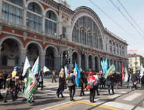 Industrial action at Porta Nuova station in Turin Stock Photos