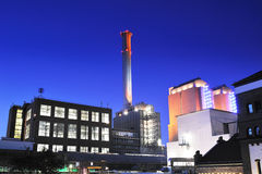 Thermal power plant by night #2 Royalty Free Stock Images