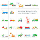 Industrial and agricultural icons set Royalty Free Stock Image