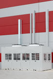 Industrial air conditioner condensers outside. Unit on the roof of a building Stock Photography