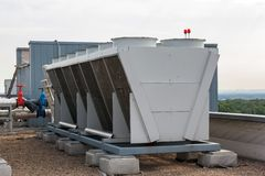 Industrial Air Conditioner On The Roof Stock Photos