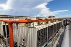 Industrial air conditioner. On the roof with blue sky Royalty Free Stock Photos