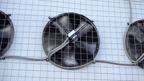 Industrial air conditioner unit fan rotating. stock video