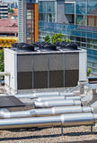 Industrial air conditioners on the top of an office building Stock Photography