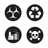 Industrial air pollution icons set Royalty Free Stock Photo