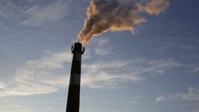 Industrial air pollution. Smoke from chimney. Copyspace stock footage