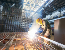 Industrial arc welding work Royalty Free Stock Photography