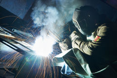 Industrial arc welding work Stock Image