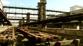 Industrial architecture. Abandoned train station stock video footage