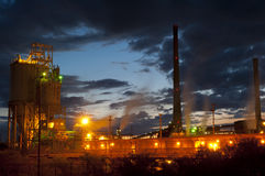 Industrial Architecture at Night Stock Photo