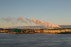Industrial Area on Canadian Coast with Smokestacks Stock Photography