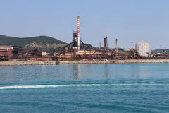 Industrial area on the coast of Tyrrhenian Sea. Piombino, Italy Royalty Free Stock Photos