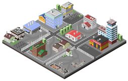 Industrial Area Concept. With isometric plants factories police station and fire department buildings vector illustration Stock Photography