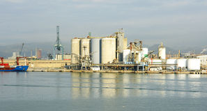 Industrial area on the docks Royalty Free Stock Images