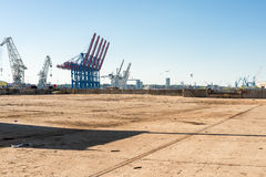 Industrial area, a former scrapyard, in the harbor of Hamburg Stock Photo