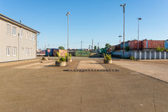 Industrial area, a former scrapyard, in the harbor of Hamburg Stock Images