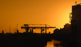 Industrial area, Frankfurt Osthafen at dawn Royalty Free Stock Images