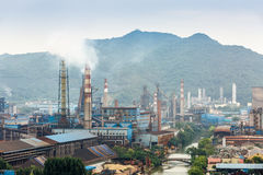 Industrial area hazy living environment. Steel mills hazy smoke pollution in industrial area royalty free stock images
