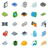 Industrial area icons set, isometric style. Industrial area icons set. Isometric set of 25 industrial area vector icons for web isolated on white background Stock Photo