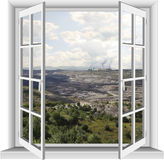 Industrial area of lignite mine. Stock Photo