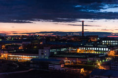 Industrial area at night Stock Image